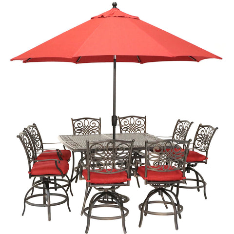 hanover-traditions-9-piece-8-counter-height-swivel-chairs-60-inch-square-cast-table-umbrella-and-base-traddn9pcbrsq-su-r