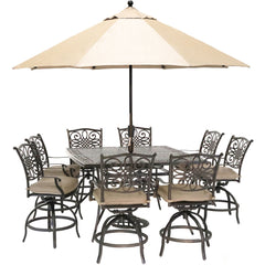 hanover-traditions-9-piece-8-counter-height-swivel-chairs-60-inch-square-cast-table-umbrella-and-base-traddn9pcbrsq-su-t