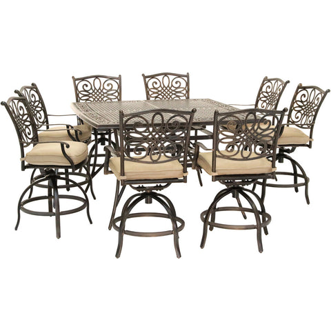 hanover-traditions-9-piece-8-counter-height-swivel-chairs-and-60-inch-square-cast-table-traddn9pcbrsq-tan
