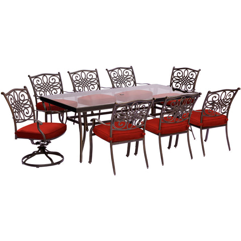 hanover-traditions-9-piece-6-dining-chairs-2-swivel-rockers-42x84-inch-glass-top-table-traddn9pcsw2g-red