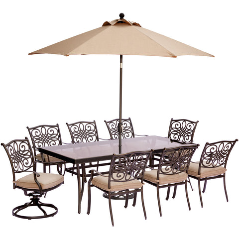 hanover-traditions-9-piece-6-dining-chairs-2-swivel-rockers-42x84-inch-glass-table-umbrella-base-traddn9pcsw2g-su
