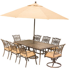 hanover-traditions-9-piece-6-dining-chairs-2-swivel-rockers-42x84-inch-cast-table-umbrella-base-traddn9pcsw2-su