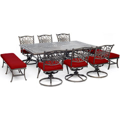 hanover-traditions-9-piece-6-swivel-rockers-2-backless-bench-chairs-60x84-inch-cast-table-traddn9pcsw6bn-red