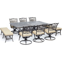 hanover-traditions-9-piece-6-swivel-rockers-2-backless-bench-chairs-60x84-inch-cast-table-traddn9pcsw6bn-tan