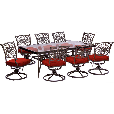 hanover-traditions-9-piece-8-swivel-rockers-42x84-inch-glass-top-table-traddn9pcswg-red