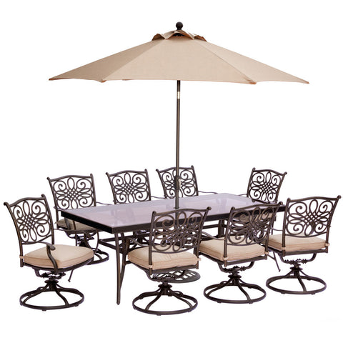 hanover-traditions-9-piece-8-swivel-rockers-42x84-inch-glass-top-table-umbrella-base-traddn9pcswg-su