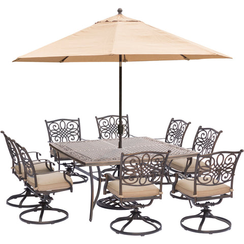 hanover-traditions-9-piece-8-swivel-rockers-60-inch-square-cast-top-table-umbrella-base-traddn9pcswsq8-su