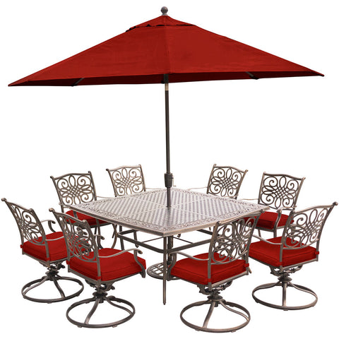 hanover-traditions-9-piece-8-swivel-rockers-60-inch-square-cast-table-umbrella-base-traddn9pcswsq8-su-r