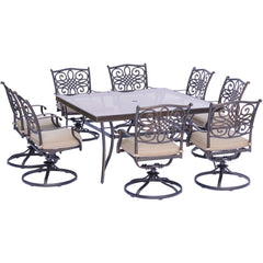 hanover-traditions-9-piece-8-swivel-rockers-60-inch-square-glass-top-table-traddn9pcswsqg