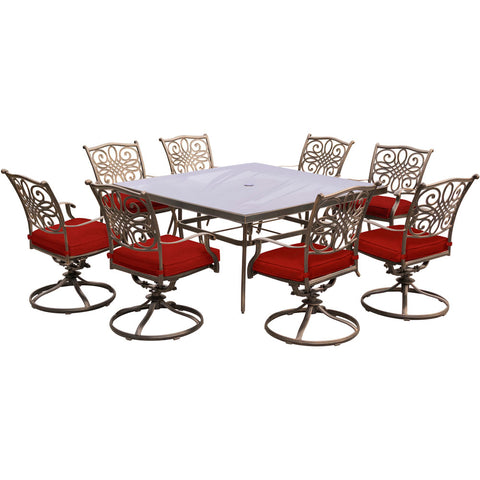 hanover-traditions-9-piece-8-swivel-rockers-60-inch-square-glass-top-table-traddn9pcswsqg-red