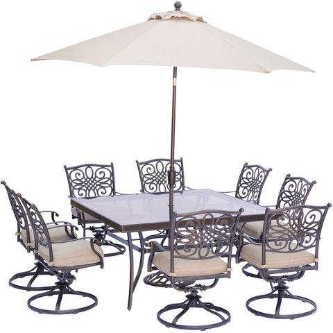 hanover-traditions-9-piece-8-swivel-rockers-60-inch-square-glass-top-table-umbrella-base-traddn9pcswsqg-su