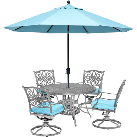 hanover-traditions-5-piece-4-swivel-rockers-48-inch-round-cast-table-umbrella-and-base-traddng5pcsw4-su-b