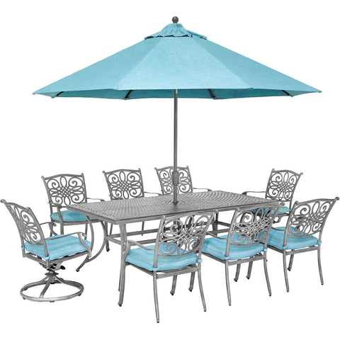 hanover-traditions-9-piece-6-dining-chairs-2-swivel-rockers-42x84-inch-cast-table-umbrella-and-base-traddng9pcsw2-su-b