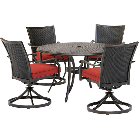 hanover-traditions-5-piece-4-wicker-back-swivel-rockers-48-inch-round-cast-table-traddnwb5pcswc-red