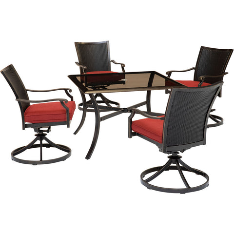 hanover-traditions-5-piece-4-wicker-back-swivel-rockers-42-inch-square-glass-table-traddnwb5pcswsqg-red