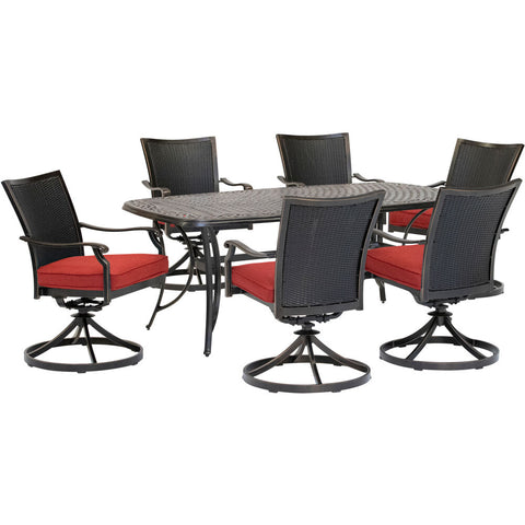 hanover-traditions-7-piece-6-wicker-back-swivel-rockers-38x72-inch-cast-table-traddnwb7pcswc-red