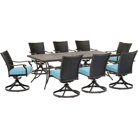 hanover-traditions-9-piece-8-wicker-back-swivel-rockers-42x84-inch-cast-table-traddnwb9pcswc-blu