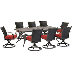 hanover-traditions-9-piece-8-wicker-back-swivel-rockers-42x84-inch-cast-table-traddnwb9pcswc-red