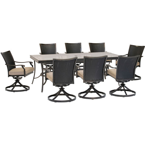 hanover-traditions-9-piece-8-wicker-back-swivel-rockers-42x84-inch-glass-table-traddnwb9pcswg-tan