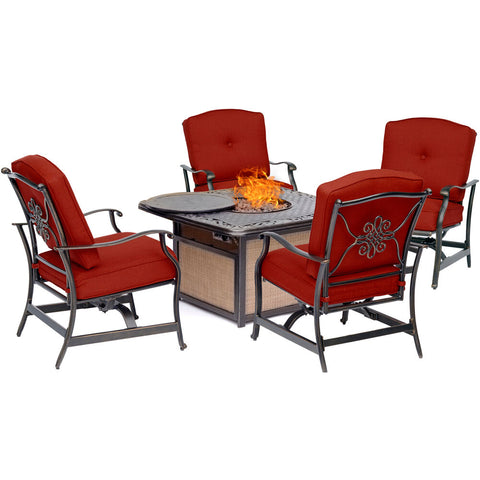 hanover-traditions-5-piece-fire-pit-cast-top-fire-pit-4-cushioned-rockers-traditions5pcfp-red