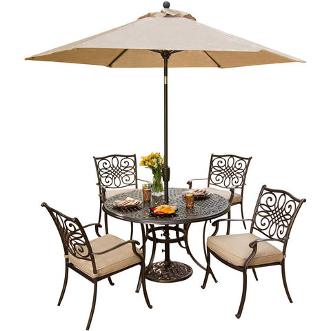 hanover-traditions-5-piece-4-dining-chairs-48-inch-round-cast-table-umbrella-base-traditions5pc-su