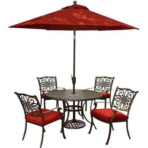 hanover-traditions-5-piece-4-dining-chairs-48-inch-round-cast-table-umbrella-base-traditions5pc-su-r