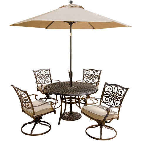 hanover-traditions-5-piece-4-swivel-rockers-48-inch-round-cast-table-umbrella-base-traditions5pcsw-su