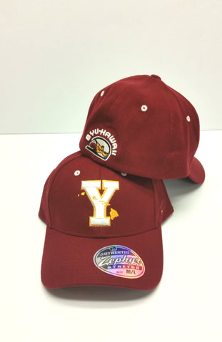 "Adult Hats fitted BYU-HAWAII ""Y"" and islands logo. On Sale"