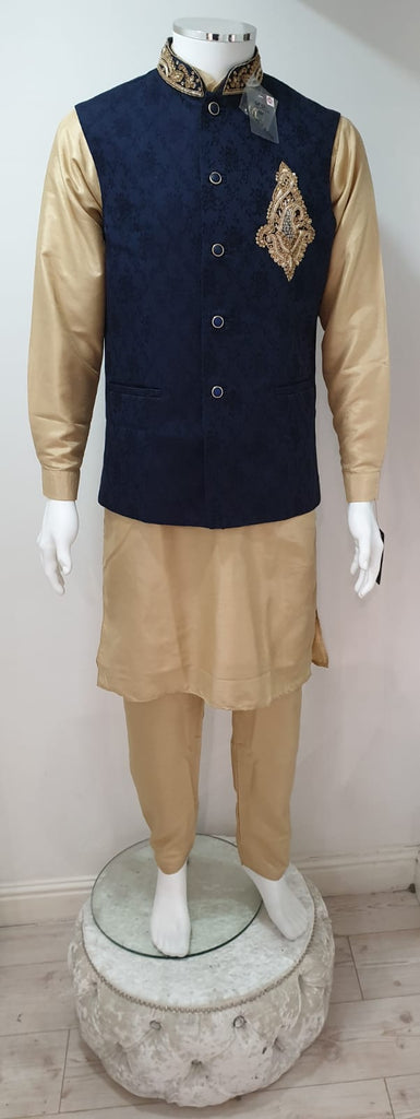 A MEN GOLD POLY DUPION KURTA PYJAMA WITH  WAISTCOAT SUIT