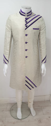 A men off white brocade fabric with purple button & piping