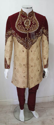 Gold & maroon  men sharwani D.NO A104