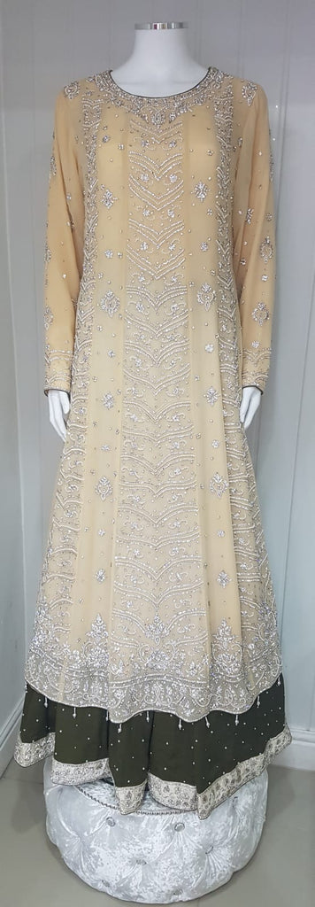 Light gold long dress with  langha heavy stone embroidered