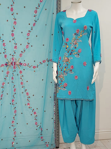 blue ladies salwar kameez with full duptta embroidery