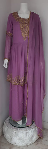 purple ghrara with gold hand embroidery