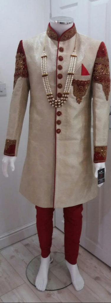 Cream Indo Western Outfit With Gold Stone Detailing