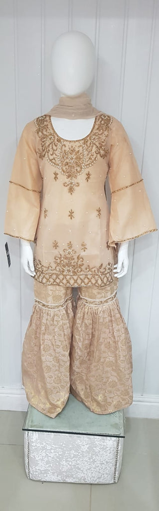 Girls Gold Gararaha Suit With Banarsi Gararaha