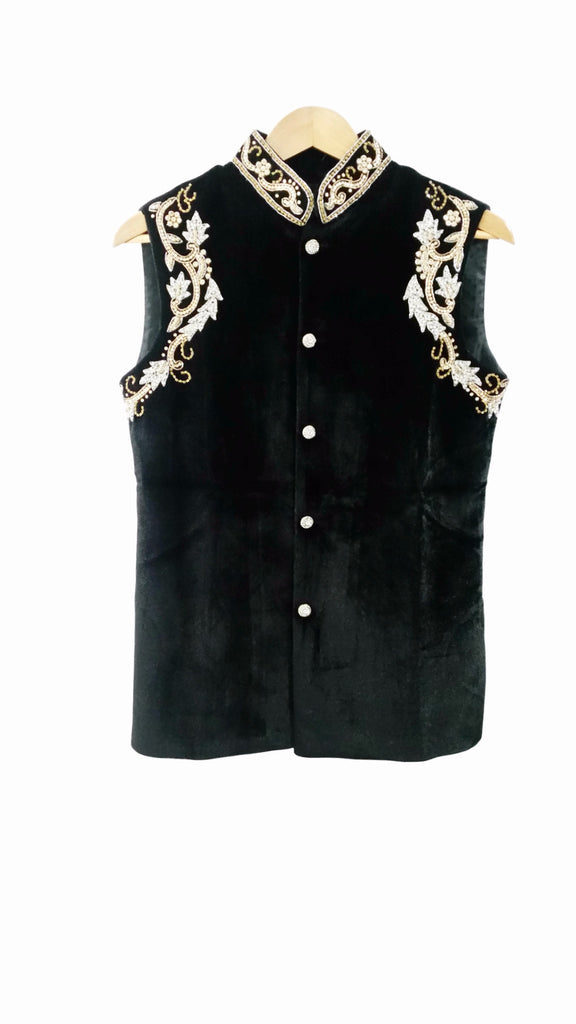 Black Velvet Waistcoat With Stone Embroidery