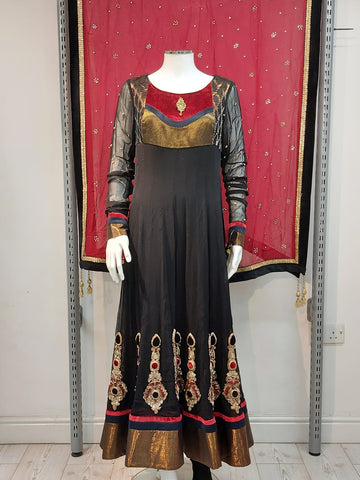 ladies black chiffon long dress with  churidar sleeves and churidar pyjama