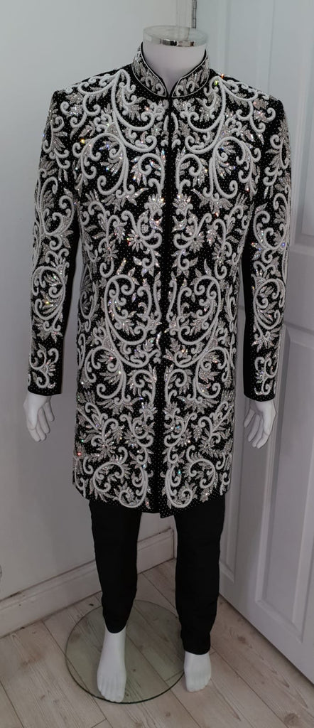 Black Heavy Sherwani With Silver Embroidery