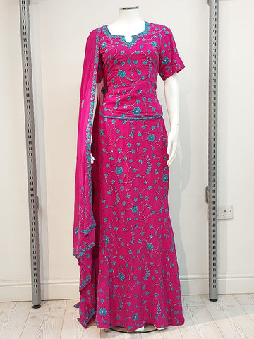 Ladies fish cut half sleeve full jal embroidery Lengha