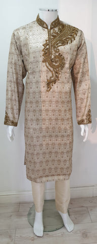 Men,s Brocade Gold Kurta Pyjama