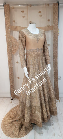 Bridal Cream Embroidered Lengha Set