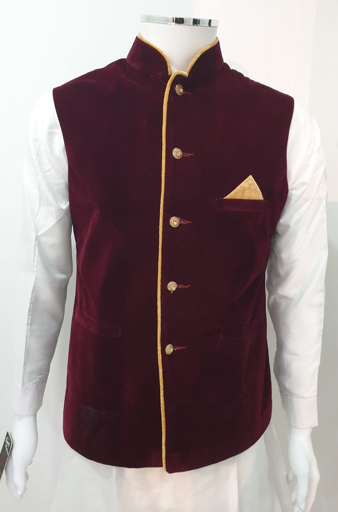 Maroon Velvet Men's Waistcoat With Gold Piping