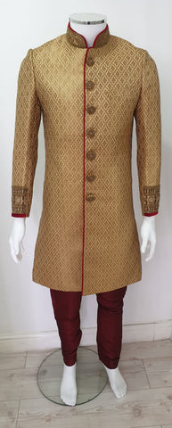 Gold & maroon  men sharwani D.N0  A102