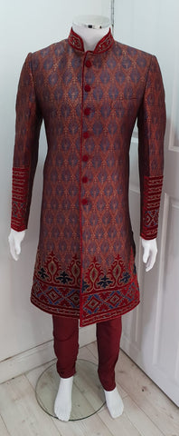 Maroon Embroidered Indo Western Outfit