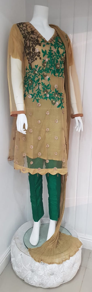 GOLD & GREEN LADIES TROUSER SUIT