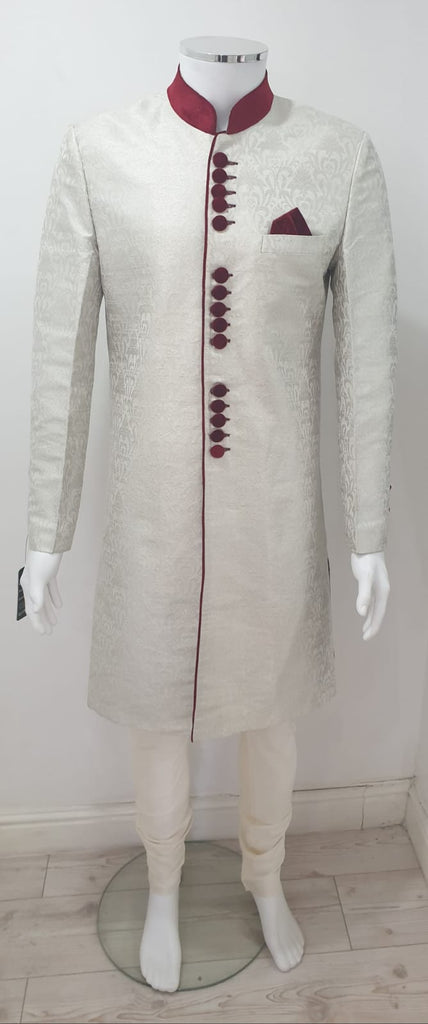 men off white sharwani with maroon velvet button
