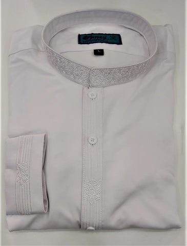 White mens embroidered pakistani salwar kameez