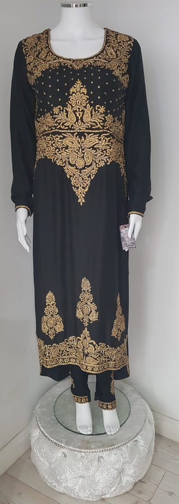 Black Heavy Gold Stone Embroidered Tail Suit