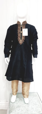 Black Kurta With Gold Pyjama